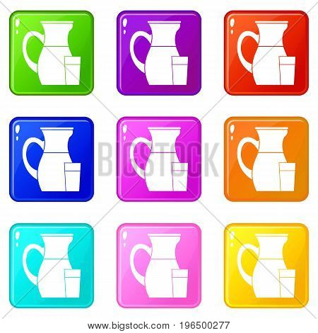 Jug of milk icons of 9 color set isolated vector illustration