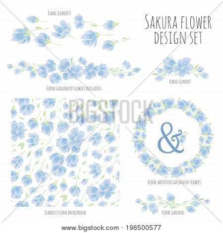 Set of vector design elements, including seamless pattern, floral vignettes, borders and wreaths - blue Sakura blossom Japanese flowering cherry - symbol of spring