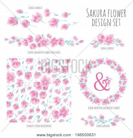 Set of vector design elements, including seamless pattern, floral vignettes, borders and wreaths - pink Sakura blossom Japanese flowering cherry - symbol of spring