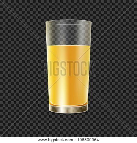 Orange juice in glass. Juice drink in glossy tableware vector illustration.
