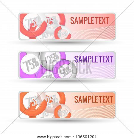 Flat horizontal pastel color abstract business banners set percentage statistics in circles isolated on white background vector illustration