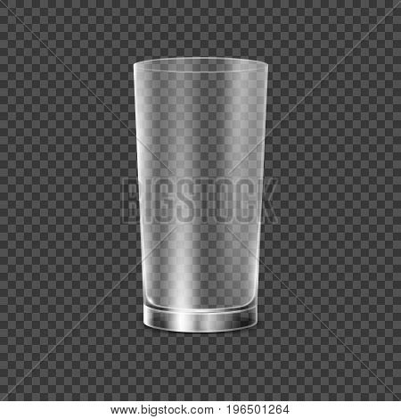 Drinking glass cup. Transparent vector glass illustration. Restaurant object for drink alcohol, water or any liquid. Empty crystal realistic glass cup.