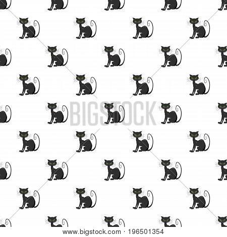 Black cat pattern seamless repeat in cartoon style vector illustration