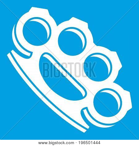 Brass knuckles icon white isolated on blue background vector illustration