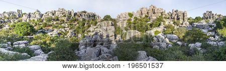 Impressive karst landscapes at Torcal de Antequera Malaga Spain. Panoramic view
