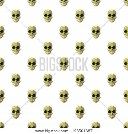Skull pattern seamless repeat in cartoon style vector illustration
