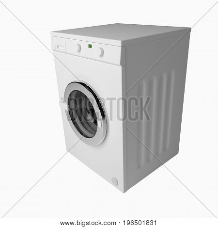 Domestic Washing Machine Closed And Ready To Wash Dirty Clothes Isolated Over White