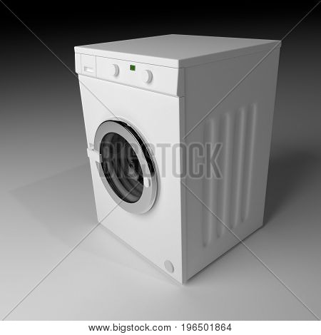 Domestic Washing Machine Closed And Ready To Wash Dirty Clothes