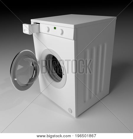 Domestic Washing Machine Ready To Wash Dirty Clothes