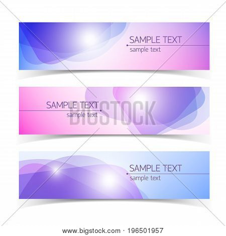 Horizontal abstract science banners in pastel colors with light effects and text fields isolated on white background flat vector illustration