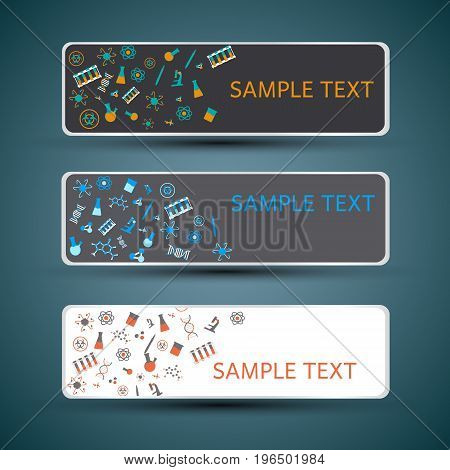 Horizontal white and dark banners set with chemistry doodle colorful symbols isolated vector illustration