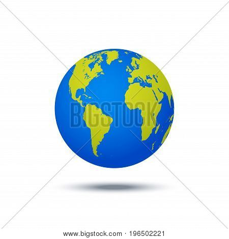 Vector planet icon. Web illustration background. Isolated earth globe. World map design. Global sphere planet symbol.