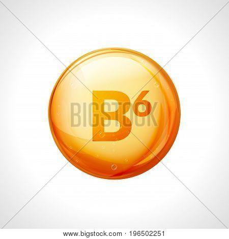 Vitamin b6 pill icon. Pyridoxine nutrition care. Gold drop essence. Isolated golden vector symbol of b6 vitamin medicine.