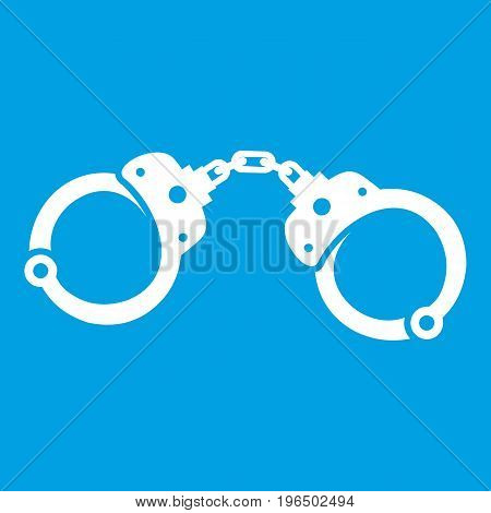 Handcuffs icon white isolated on blue background vector illustration