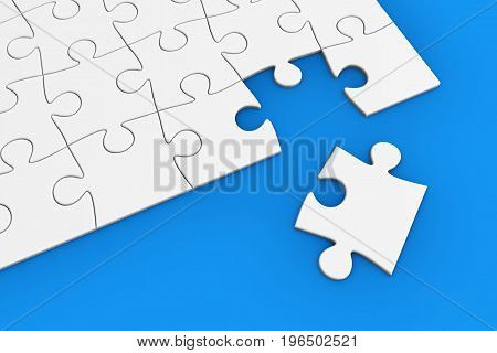 Last piece to complete the jigsaw puzzle business solution and problem solving concept 3D illustration.