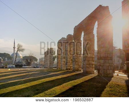 Roman Aqueduct Pipeline With Stone Columns In Selcuk, Ephesus Archaeological Site In Turkey