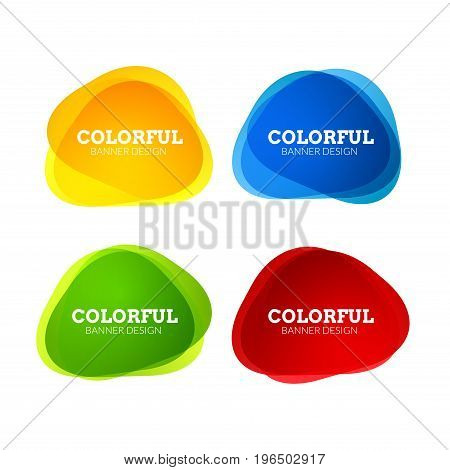 Set of colorful round abstract banners shape. Graphic overlay banners design. Fun label or tag design.