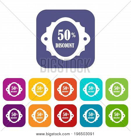 Sale label 50 percent off discount icons set vector illustration in flat style in colors red, blue, green, and other