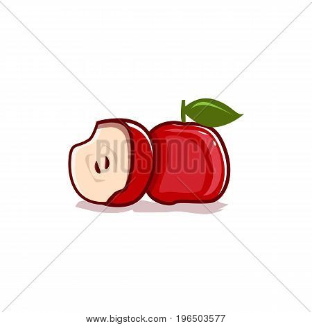 red apple and half illustration. isolated on white background.