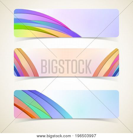 Abstract design of rainbow type horizontal banners set realistic isolated vector illustration