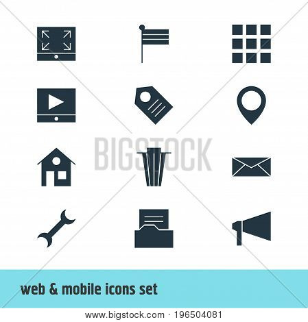 Vector Illustration Of 12 Online Icons. Editable Pack Of Bullhorn, Document Directory, Coupon And Other Elements.