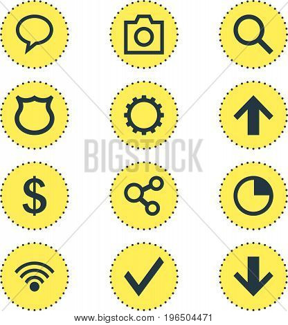 Vector Illustration Of 12 Interface Icons. Editable Pack Of Cogwheel, Cordless Connection, Confirm And Other Elements.