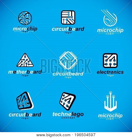 Set of microprocessor scheme abstract logotypes. Futuristic cybernetic vector motherboard. Digital elements circuit board.