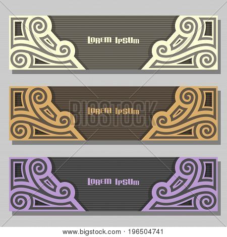 Vector set of Banner templates: 3 pale color vintage headers with monogram on gray background, three horizontal banners with ornate design for business text, layouts banners purple wedding invitation.