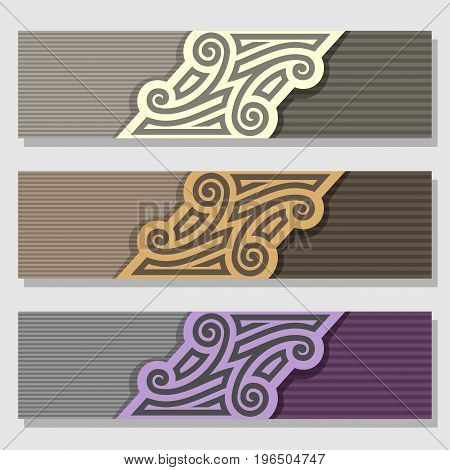 Vector set of Banner templates: 3 pale color vintage headers with monogram on gray background, three horizontal banners with striped design for business text, layouts banners brown wedding invitation.