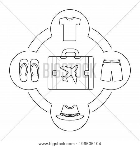 Tourist's suitcase contents linear icons set. Shirt, swimming trunks, homburg hat, flip flops. Isolated vector illustrations