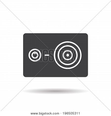 Action camera glyph icon. Drop shadow silhouette symbol. Negative space. Vector isolated illustration