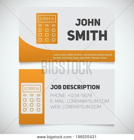Business card print template with calculator logo. Accountant. Financier. Booker. Stationery design concept. Vector illustration
