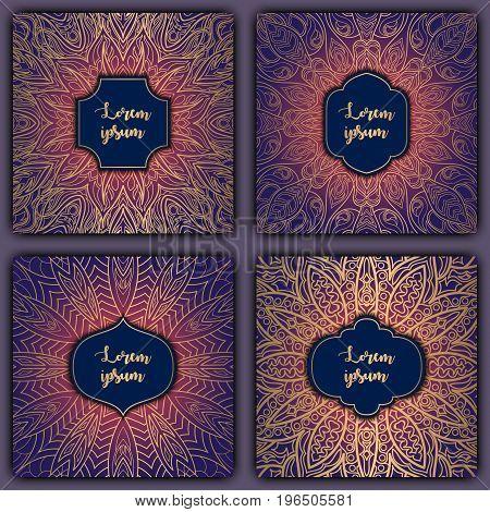 Set Of Mandala Background Cards. Vintage Elements. Vector Decorative Retro Greeting Card Or Invitati