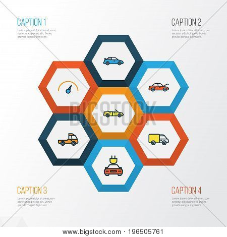 Automobile Colorful Outline Icons Set. Collection Of Track, Sport, Bonnet And Other Elements