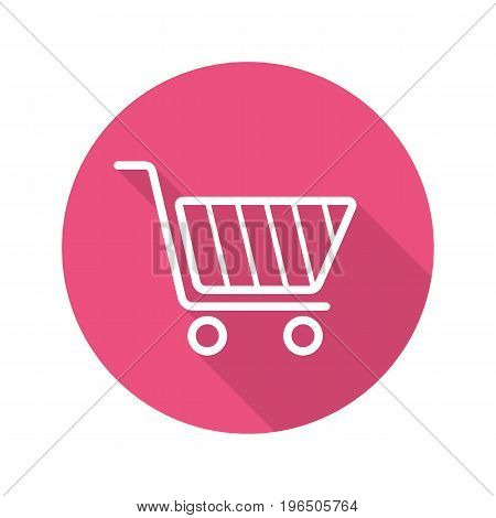 Shopping cart flat linear long shadow icon. Vector outline symbol