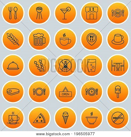 Eating Icons Set. Collection Of Wheat, Board, Cutlery And Other Elements