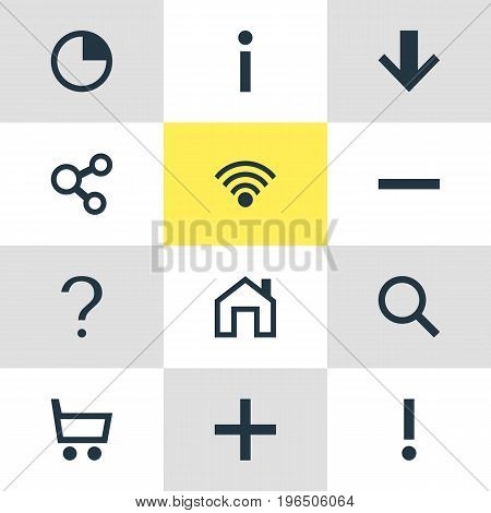 Vector Illustration Of 12 User Icons. Editable Pack Of Plus, Alert, Info And Other Elements.