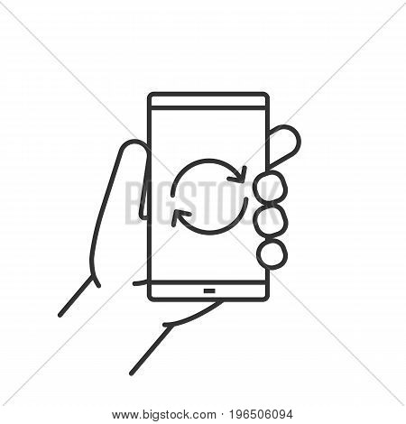 Hand holding smartphone linear icon. Thin line illustration. Smart phone restart contour symbol. Vector isolated outline drawing
