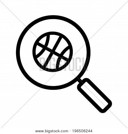 Magnifying glass with basketball ball linear icon. Thick line illustration. Basketball game search contour symbol. Vector isolated outline drawing