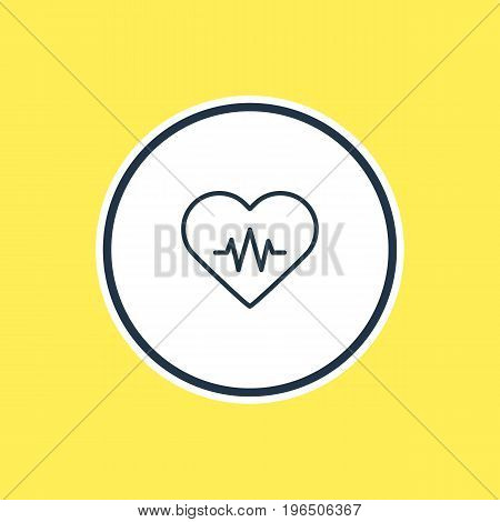 Beautiful Medicine Element Also Can Be Used As Heart Rhythm Element. Vector Illustration Of Heart With Cardiogram Outline.