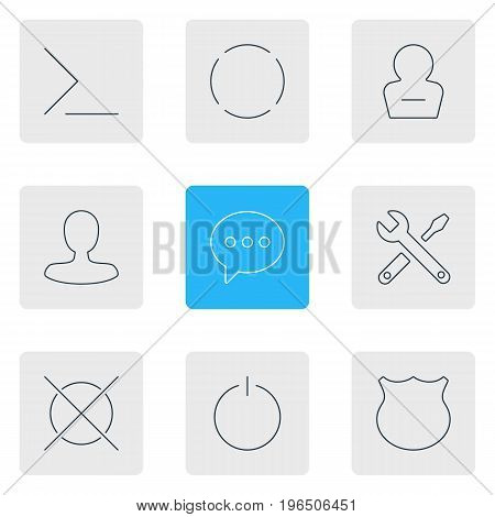 Vector Illustration Of 9 UI Icons. Editable Pack Of Repeat, Switch Off, Cancel And Other Elements.