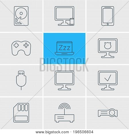 Vector Illustration Of 12 Notebook Icons. Editable Pack Of Antivirus, Router, Phone Near Computer And Other Elements.