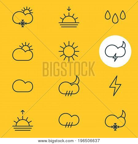Vector Illustration Of 12 Sky Icons. Editable Pack Of Cloudy, Drip, Sunlight And Other Elements.