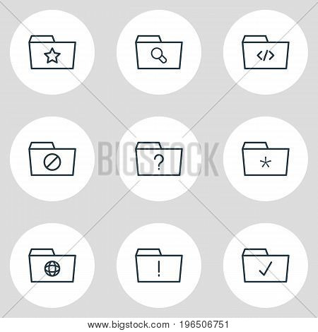 Editable Pack Of Question, Pinned, Script And Other Elements. Vector Illustration Of 9 Folder Icons.