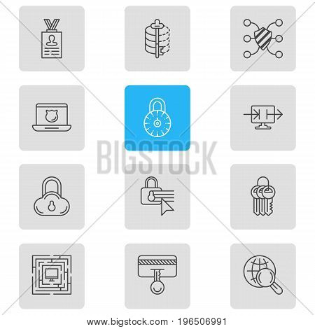 Vector Illustration Of 12 Protection Icons. Editable Pack Of Encoder, Safety Key, Account Data And Other Elements.
