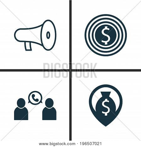 Hr Icons Set. Collection Of Bullhorn, Goal, Navigation And Other Elements