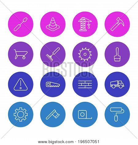 Editable Pack Of Circle Blade, Barrier, Road Sign And Other Elements. Vector Illustration Of 16 Construction Icons.