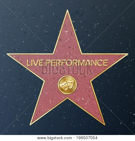 Hollywood Walk Of Fame. Vector Star Illustration. Famous Sidewalk Boulevard. Comedy tragedy Masks Representing Theatre live Performance.