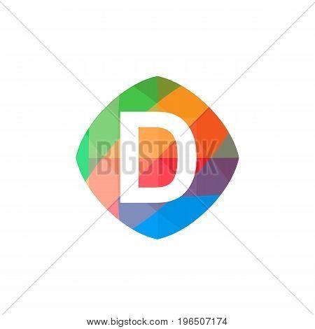 letter D set on colorful geometric polygonal shape, logo design, isolated on white background.