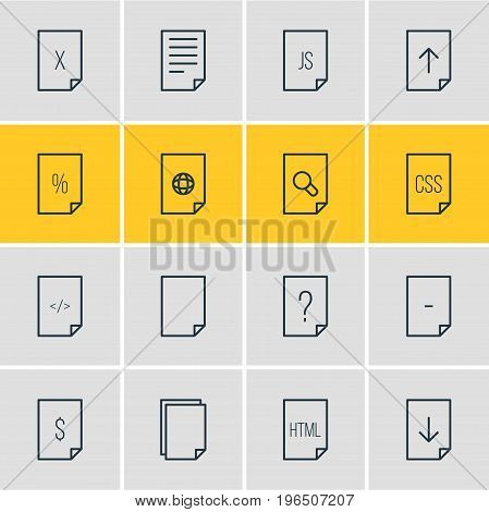 Editable Pack Of Percent, Document, Search And Other Elements. Vector Illustration Of 16 File Icons.